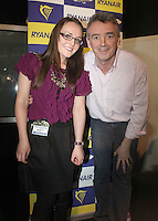 ***NO FEE PIC***.28/01/2011.Ryanair CEO Michael O' Leary & Travel Extra's Tara Carey at the Travel Clinic during the Holiday World Show in the RDS, Dublin..Photo: Gareth Chaney Collins