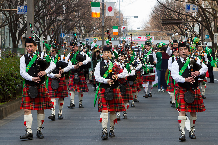 "Bagpipers at the 27th Saint .Patrick's Day Parade in Omotesando, Tokyo, Japan. Sunday March 17th 2019. Started in 1992 by the Irish Network, Japan, and supported by the Embassy of Ireland,; the parade, along with the ""I Love Ireland Festival"" held nearby is Asia's  largest Irish event."