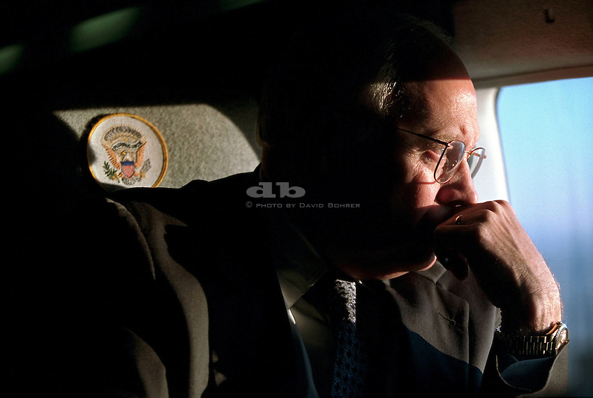 RC:  Aboard Marine Two returning to White House from Camp David.  Vice President Dick Cheney looks out the window of Marine Two, the Vice President's helicopter, as he returns to the White House from an undisclosed location Sept. 12, 2001.  VP looks at Pentagon. Released to Washington Post 6.6.07 WEST WING JUMBO WEB CROP. COLOR CORRECT..COLOR CORRECT..JUMBO.