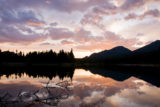 sunrise, reflection, Sprague Lake, trees, forest, mountains, landscape, scenic, Rocky Mountain National Park, Colorado, Rocky Mountains, USA