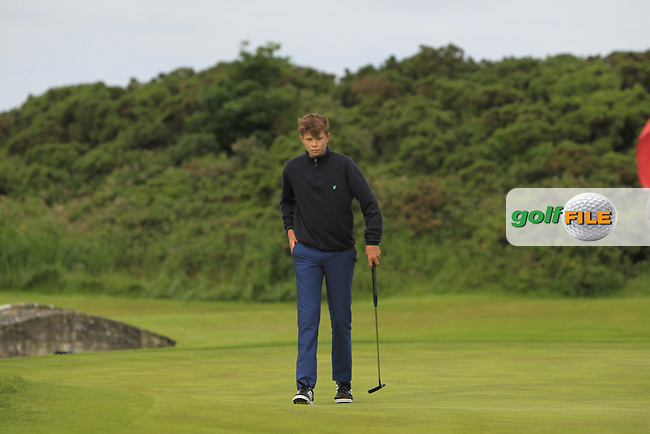 James Temple (Portmarnock) on the 4th green during Round 3 of the 2016 Connacht U18 Boys Open, played at Galway Golf Club, Galway, Galway, Ireland. 07/07/2016. <br /> Picture: Thos Caffrey | Golffile<br /> <br /> All photos usage must carry mandatory copyright credit   (&copy; Golffile | Thos Caffrey)