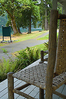 Chair on Porch at Lake Crescent Lodge, Olympic National Park, Washington, US