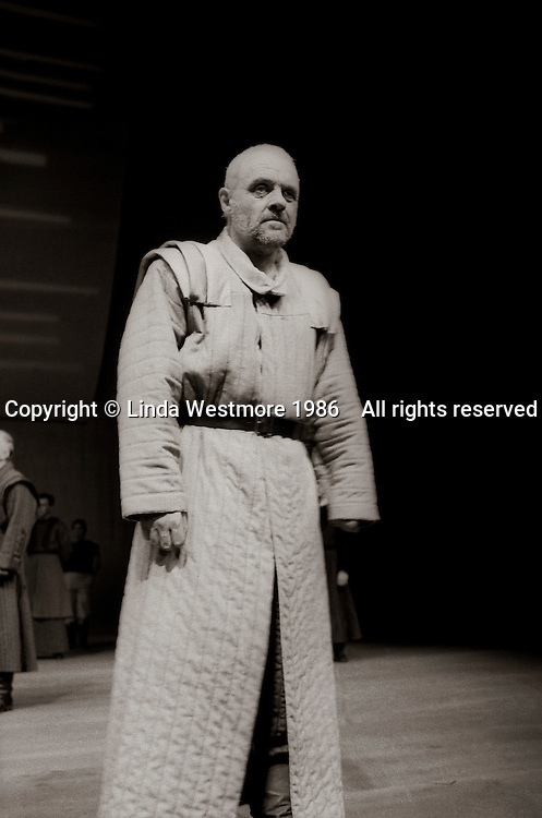 """King Lear (Anthony Hopkins) in  """"King Lear"""" by William Shakespeare at the National Theatre, London 1986.  Directed by David Hare and designed by Hayden Griffin."""
