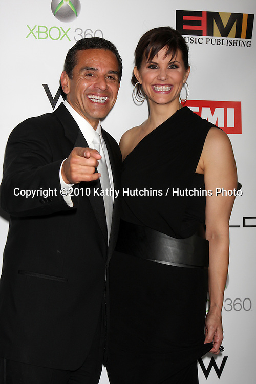 Antonio R. Villaraigosa  & Lu Parker.arriving at the EMI Post Grammy Party 2010.W Hotel Hollwood.Los Angeles, CA.January 31, 2010.©2010 Kathy Hutchins / Hutchins Photo....