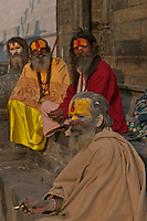 Sadhus at the Shambhu Nath Hindu traditional Cremation Area, Kathmandu, Nepal