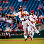 26 September 2018: Washington Nationals third baseman Anthony Rendon gets the second out in the 4th inning against the Miami Marlins at Nationals Park in Washington, DC. The Nationals defeated the visiting Marlins 9-3, closing out Washington's 2018 home season. Mandatory Credit: Ed Wolfstein Photo *** RAW (NEF) Image File Available ***