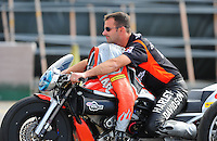 Nov. 11, 2011; Pomona, CA, USA; NHRA pro stock motorcycle rider Eddie Krawiec during qualifying at the Auto Club Finals at Auto Club Raceway at Pomona. Mandatory Credit: Mark J. Rebilas-.