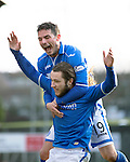 St Johnstone v Dundee United.....29.12.13   SPFL<br /> Stevie May celebrates his goal with Gary Miller<br /> Picture by Graeme Hart.<br /> Copyright Perthshire Picture Agency<br /> Tel: 01738 623350  Mobile: 07990 594431