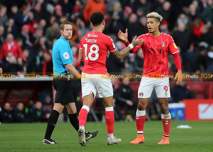Lyle Taylor scorer of Charlton's opening goal congratulates Andre Green after scoring their second goal during Charlton Athletic vs Barnsley, Sky Bet EFL Championship Football at The Valley on 1st February 2020