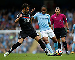 Luka Milivojevic of Crystal Palace tackles Raheem Sterling of Manchester City during the premier league match at the Etihad Stadium, Manchester. Picture date 22nd September 2017. Picture credit should read: Simon Bellis/Sportimage
