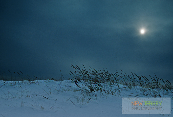 Moonrise over snow-covered dunes, Barnegat Lighthouse State Park, New Jersey