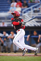 Batavia Muckdogs left fielder Isaiah White (18) at bat during a game against the West Virginia Black Bears on June 28, 2016 at Dwyer Stadium in Batavia, New York.  Batavia defeated West Virginia 3-1.  (Mike Janes/Four Seam Images)