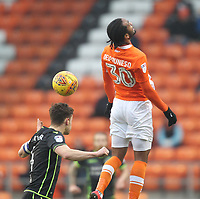 Blackpool's Nathan Delfouneso flicks the ball past Bristol Rovers' Tom Lockyer<br /> <br /> Photographer Mick Walker/CameraSport<br /> <br /> The EFL Sky Bet League One - Blackpool v Bristol Rovers - Saturday 13th January 2018 - Bloomfield Road - Blackpool<br /> <br /> World Copyright &copy; 2018 CameraSport. All rights reserved. 43 Linden Ave. Countesthorpe. Leicester. England. LE8 5PG - Tel: +44 (0) 116 277 4147 - admin@camerasport.com - www.camerasport.com
