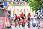 "A bloodied Tom Dumoulin (NED) Team Sunweb is helped to the finish by his team mates losing 4'04"" after several crashes in the last 7km of Stage 4 of the 2019 Giro d'Italia, running 235km from Orbetello to Frascati, Italy. 14th May 2019<br /> Picture: Massimo Paolone/LaPresse 