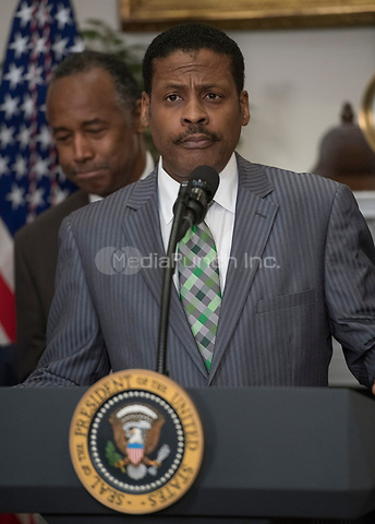 Isaac Newton Farris, Jr., Nephew of Martin Luther King Jr., makes remarks prior to US President Donald J. Trump signing a proclamation to honor Dr. Martin Luther King, Jr. Day in the Roosevelt Room of the White House in Washington, DC on Friday, January 12, 2018.<br /> Credit: Ron Sachs / CNP /MediaPunch