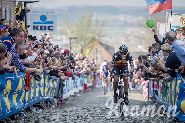 Philippe Gilbert (BEL/Quick Step floors) solo up the Oude Kwaremont<br /> <br /> 101th Ronde Van Vlaanderen 2017 (1.UWT)<br /> 1day race: Antwerp › Oudenaarde - BEL (260km)