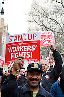 "On the anniversary of Dr. Martin Luther King Jr.'s death, union workers attend ""Unite and Win: Stand Up for Workers' Rights"" Rally in New York's City Hall Park on 04 April 2011.  The event was held to remind the city's elected officials that workers' rights are human rights, and that those rights will not be destroyed."