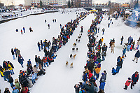 Musher Eric Butcher at the start of the 1000 mile Yukon Quest sled dog race 2006, between Fairbanks, Alaska and Whitehorse, Yukon. Dubbed the toughest dogsled race in the world.