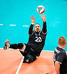 Lima, Peru -  25/August/2019 -   Jesse Buckingham (#20) in action as Canada takes on Costa Rica in men's sitting volleyball at the Parapan Am Games in Lima, Peru. Photo: Dave Holland/Canadian Paralympic Committee.