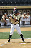 Christian Long (19) of the Wake Forest Demon Deacons at bat against the Virginia Cavaliers at David F. Couch Ballpark on May 19, 2018 in  Winston-Salem, North Carolina. The Demon Deacons defeated the Cavaliers 18-12. (Brian Westerholt/Four Seam Images)
