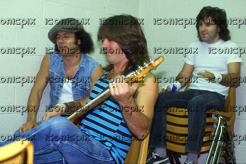 AC/DC - Brian Johnson, Cliff Williams, Simon Wright - backstage at the Nassau Colisseum in Uniondale NY USA - 21 Nov 1985.  Photo credit: George Bodnar Archive/IconicPix