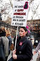 Banner More funds to anti violence centers<br /> Roma 08/03/2018. Marcia delle Donne in occasione della Festa della donna, contro la violenza e per i diritti delle donne.<br /> Rome March 8th 2018. Women's March in Rome, #WeToo, #WeToogether, in occasion of the International Women's Day (IWD).<br /> Foto Samantha Zucchi Insidefoto
