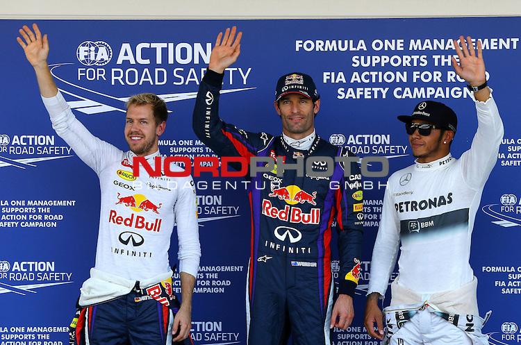 03.06.10.2013, Korea-International-Circuit, Yeongam, KOR, F1, Gro&szlig;er Preis von S&uuml;dkorea, Yeongam, im Bild Sebastian Vettel (GER), Red Bull Racing - Mark Webber (AUS), Red Bull Racing - Lewis Hamilton (GBR), Mercedes GP <br /> for Austria &amp; Germany Media usage only!<br />  Foto &copy; nph / Mathis