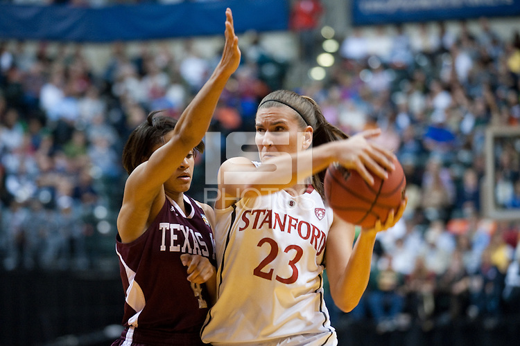 INDIANAPOLIS, IN - APRIL 3, 2011: Jeanette Pohlen looks for an open teammate during the NCAA Final Four against Texas A&M at Conseco Fieldhouse  in Indianapolis, IN on April 1, 2011.