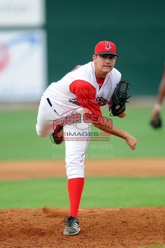 Lowell Spinners pitcher Kyle Martin #43 during a game versus the Jamestown Jammers at LeLacheur park in Lowell, Massachusetts on July 14, 2013. (Ken Babbitt/Four Seam Images)