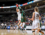SIOUX FALLS, SD: MARCH 4: Jenna Gunn #32 from IUPUI spots up for a jumper over Brianna Jones #34 from North Dakota State University on March 4, 2017 during the Summit League Basketball Championship at the Denny Sanford Premier Center in Sioux Falls, SD. (Photo by Dave Eggen/Inertia)