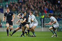 Jonathan Hudson of Oxford University looks for support during the 131st Varsity Match between Oxford University and Cambridge University at Twickenham on Thursday 06 December 2012 (Photo by Rob Munro)