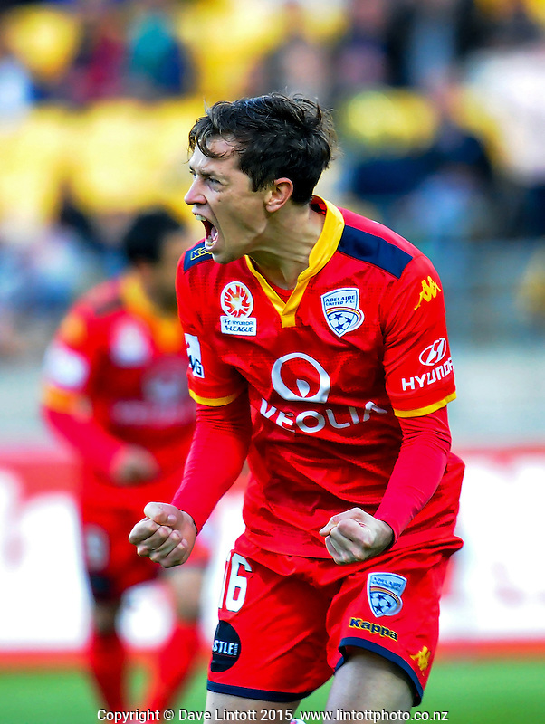 Craig Goodwin celebrates his goal during the A-League football match between Wellington Phoenix and Adelaide United at Westpac Stadium, Wellington, New Zealand on Friday, 13 November 2015. Photo: Dave Lintott / lintottphoto.co.nz