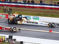 Mar 17, 2019; Gainesville, FL, USA; NHRA top fuel driver T.J. Zizzo during the Gatornationals at Gainesville Raceway. Mandatory Credit: Mark J. Rebilas-USA TODAY Sports