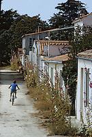Europe/France/Poitou-Charentes/17/Charente Maritime/Ile d'Aix: Maisons avec leurs roses trémières
