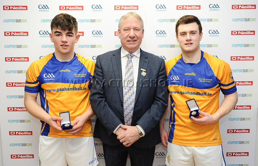 07/04/2018; GAA Handball O&rsquo;Neills 40x20 Championship Final Boys Minor Doubles Clare (Tiarnan Agnew/Mark Rodgers) v Kilkenny (Padraig Foley/Eoin Brennan); Kingscourt, Co Cavan;<br /> Winnners Mark Rodgers and Tiarnan Agnew of Clare with GAA Handball President Joe Masterson<br /> Photo Credit: actionshots.ie/Tommy Grealy