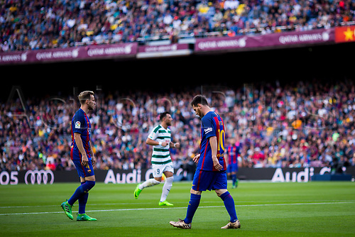 May 21st 2017, Nou Camp, Barcelona, Spain; La Liga football, FC Barcelona versus Eibar; Lional Messi frustrated at a miss on goal