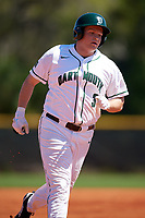 Dartmouth Big Green first baseman Michael Calamari (3) runs the bases after hitting a solo home run during a game against the Villanova Wildcats on March 3, 2018 at North Charlotte Regional Park in Port Charlotte, Florida.  Dartmouth defeated Villanova 12-7.  (Mike Janes/Four Seam Images)