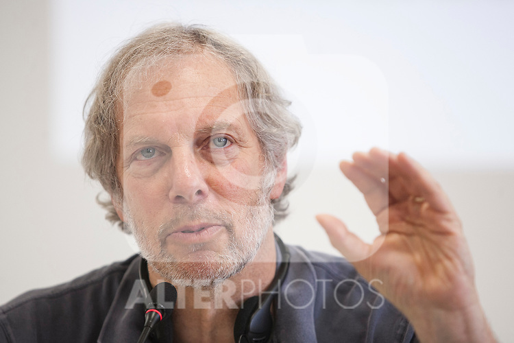 Economics specialist Robert Pollin during a `Podemos´ political party press conference in Madrid, Spain. June 22, 2015. (ALTERPHOTOS/Victor Blanco)