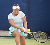 June 13th 2017, Nottingham, England; WTA Aegon Nottingham Open Tennis Tournament day 4;  Kurumi Nara of Japan in action in her match against Lauren Davis of USA