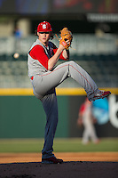 North Carolina State Wolfpack starting pitcher Ryan Williamson (3) in action against the Charlotte 49ers at BB&T Ballpark on March 31, 2015 in Charlotte, North Carolina.  The Wolfpack defeated the 49ers 10-6.  (Brian Westerholt/Four Seam Images)