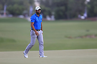 Adrian Otaegui (ESP) on the 18th green during the 2nd round of the DP World Tour Championship, Jumeirah Golf Estates, Dubai, United Arab Emirates. 16/11/2018<br /> Picture: Golffile | Fran Caffrey<br /> <br /> <br /> All photo usage must carry mandatory copyright credit (© Golffile | Fran Caffrey)