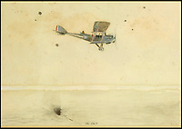 BNPS.co.uk (01202 558833)<br /> Pic: Sworders/BNPS<br /> <br /> 'Ok-Ok!!'<br /> <br /> An amazing set of watercolours painted whilst serving on the Western Front by Biggles creator W.E.Johns have emerged for sale.<br /> <br /> W.E.Johns was a bomber pilot in the fledgling RFC during the Great War, and his keen eye for detail has recorded Sopwith Camels and Fokker Triplane's wheeling through the skies.<br /> <br /> He was shot down and captured in 1918, but after the conflict he re-joined the RAF before creating boys own hero  James 'Biggles' Bigglesworth in the 1930's.<br /> <br /> Sworders 27th June, Est &pound;1000.