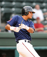 July 21, 2008: Infielder Carlos Fernandez (12) of the Greenville Drive, Class A affiliate of the Boston Red Sox, in a game against the Hagerstown Suns at Fluor Field at the West End in Greenville, S.C. Photo by:  Tom Priddy/Four Seam Images