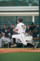 GCL Pirates second baseman Matt Morrow (55) follows through on a swing during the first game of a doubleheader against the GCL Yankees East on July 31, 2018 at Pirate City Complex in Bradenton, Florida.  GCL Yankees East defeated GCL Pirates 2-0.  (Mike Janes/Four Seam Images)