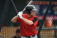 New Britain Rock Cats third baseman Nate Hanson (12) in the batting cage during practice before a game against the Harrisburg Senators on April 28, 2014 at Metro Bank Park in Harrisburg, Pennsylvania.  Harrisburg defeated New Britain 9-0.  (Mike Janes/Four Seam Images)