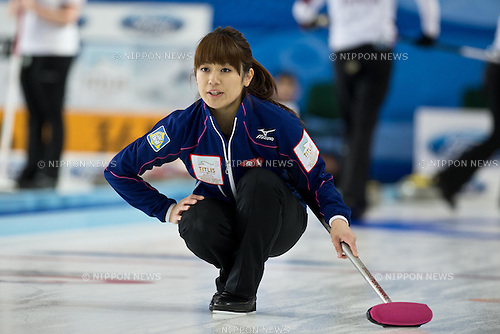 Miyo Ichikawa (JPN), .MARCH 17, 2013 - Curling : .World Women's Curling Championship 2013, match between Japan and Latvia at Volvo Sport Center, Riga, Latvia, (Photo by Enrico Calderoni/AFLO SPORT)