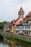 Tauber und Spitzer Turm in Wertheim, Baden-Württemberg, Deutschland