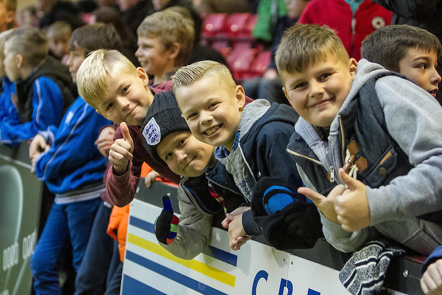 Young Crewe Alexandra fans<br /> <br /> Photographer Marty Hill/CameraSport<br /> <br /> Football - The Football League Sky Bet League One - Crewe Alexandra v Doncaster Rovers - Saturday 29th November 2014 - Alexandra Stadium - Crewe<br /> <br /> &copy; CameraSport - 43 Linden Ave. Countesthorpe. Leicester. England. LE8 5PG - Tel: +44 (0) 116 277 4147 - admin@camerasport.com - www.camerasport.com
