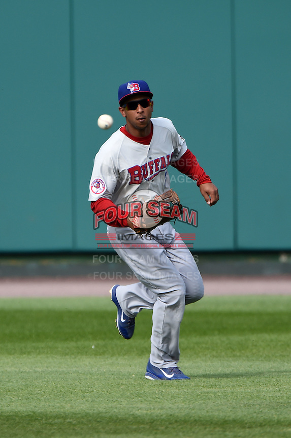 Buffalo Bisons outfielder Anthony Gose (8) fields a base hit during the first game of a doubleheader against the Rochester Red Wings on July 6, 2014 at Frontier Field in Rochester, New  York.  Rochester defeated Buffalo 6-1.  (Mike Janes/Four Seam Images)