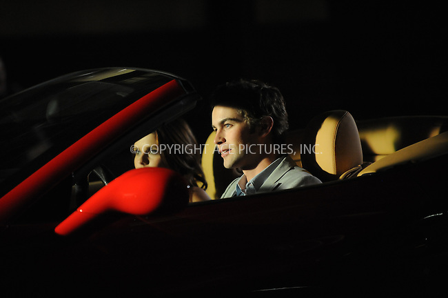 WWW.ACEPIXS.COM . . . . . ....July 9 2009, New York City....Actors Jessica Garcia and Chace Crewford in a Ferrari on the set of Gossip Girl on July 9 2009 in New York City........Please byline: KRISTIN CALLAHAN - ACEPIXS.COM.. . . . . . ..Ace Pictures, Inc:  ..tel: (212) 243 8787 or (646) 769 0430..e-mail: info@acepixs.com..web: http://www.acepixs.com